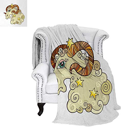 (Warm Microfiber All Season Blanket for Bed or Couch Cartoon Comic Style Ram Animal Fluffy Funny Cosmic Character with Yellow Stars Throw Blanket 70