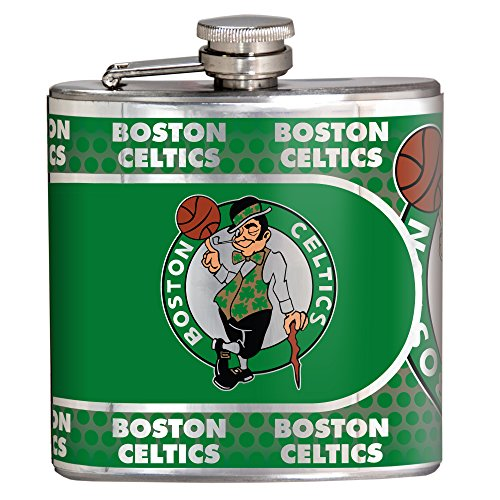 NBA Boston Celtics Stainless Steel Hip Flask with Metallic Graphics, 6 oz., Silver -