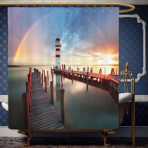 Wanranhome Custom-made shower curtain Lighthouse Sunset at Seaside with Wooden Docks Lighthouse Clouds Rainbow Waterfront Reflection Multi For Bathroom Decoration 72 x 108 - Map Galleria At Sunset
