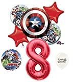 8th Birthday Red Number Avengers Captain America Shield Balloons Bouquet Bundle