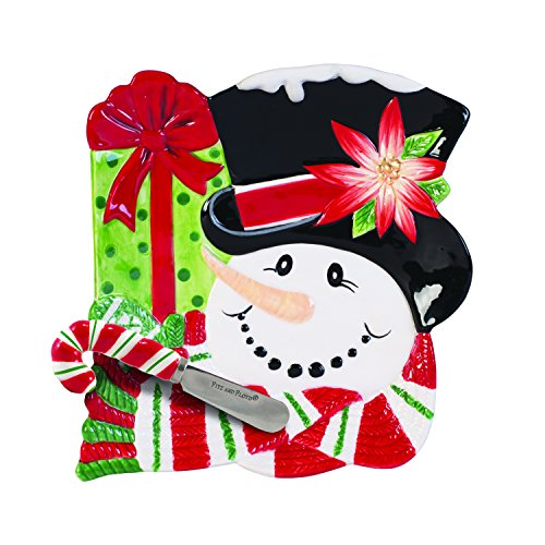 Fitz and Floyd Top Hat Frosty Collection Snack Plate with Spreader, Red