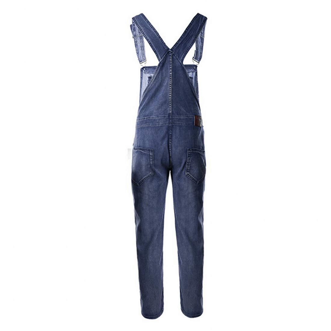RainBabe Salopette da Uomo Jeans Strappati alla Moda Maschile Casual