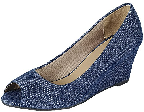 (Forever Link Women's Peep Toe Slip On Wedge Pump (7 B(M) US, Denim))