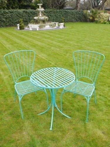 S/3 Azul, hierro forjado de patio jardín mesa redonda y sillas juego de muebles de K: Amazon.es: Oficina y papelería
