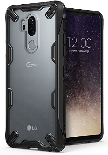Ringke [Fusion-X] Compatible with LG G7 ThinQ Case 2.0 Ergonomic Transparent [Military Drop Defense] PC Back Bumper Drop Protection Shock Absorption Technology Cover LG G7 Case (2018) - Black