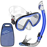 Adult Dry Snorkel Set - Anti-Fogging Protection & Tempered Glass - Clear View Scuba Diving Mask and Easy Breathing No Leaks Snorkel + Carry bag