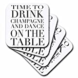 3dRose cst_163949_3 Time to Drink Champagne and Dance on The Table Ceramic Tile Coasters, Black, Set of 4