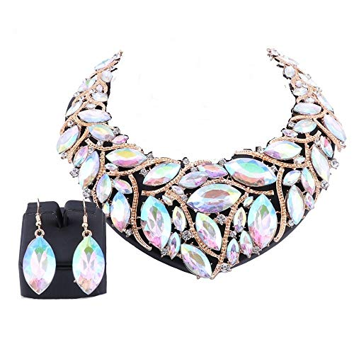 - African Beads Jewelry Sets Women Bridal Crystal Statement Necklace Earring Jewelry Sets (Gold AB Color)