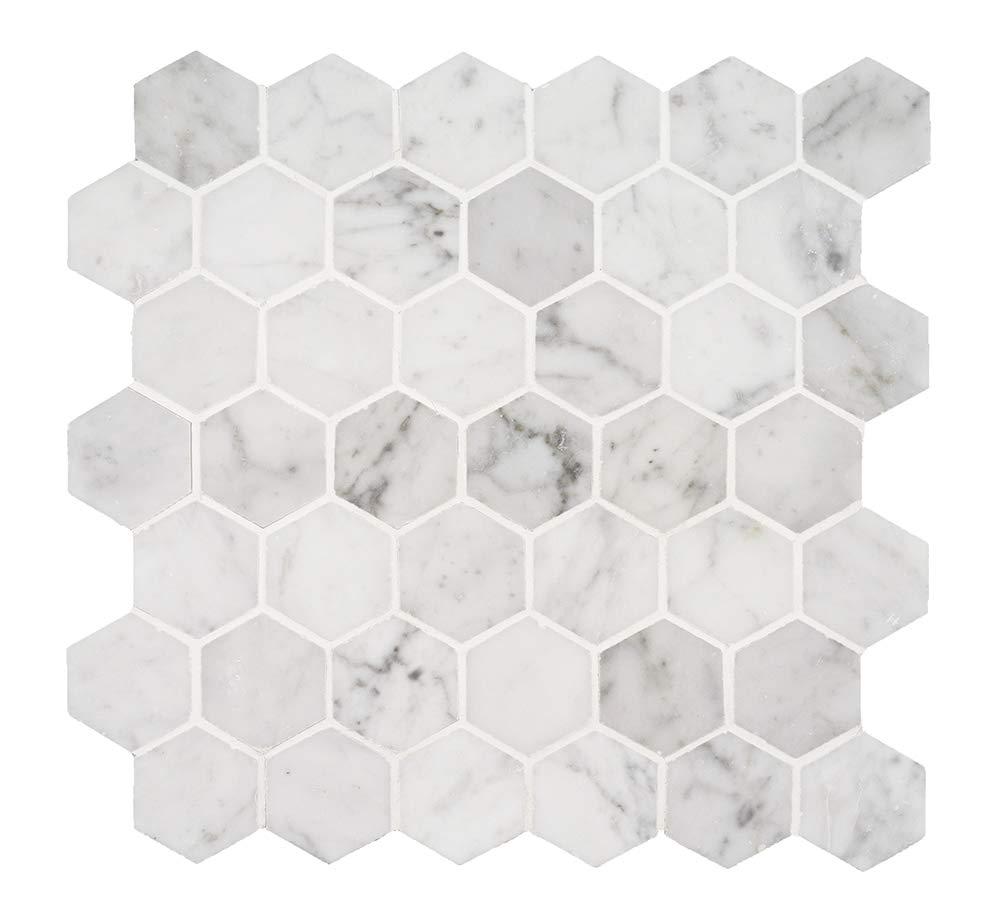Italian Bianco Carrara White Marble 2 In. Hexagon Mosaic Tile Wall Floor Decorative Bathroom Kitchen Backsplash Tiles (3.88sf.,4Pack Per Case), Honed