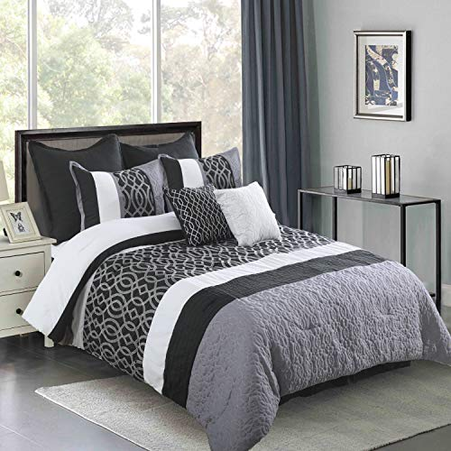 Wonder-Home Embroidered Luxury Comforter Set, 8 Piece Pintuck Black Microfiber Comforter with Pieced and Quilted Graphic Pattern, Super Fluffy Modern Bedroom Bedding Set, King Oversized(106″x96″)
