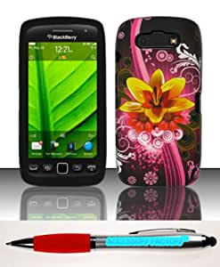 Accessory Factory(TM) Bundle (the item, 2in1 Stylus Point Pen) For Blackberry Torch 9850 9860 (Verizon Sprint) - Silicon Case + Rubberized Design Snap-on Cover Protector L1 SCDP Soft Silicone Jelly Rubber Skin Phone