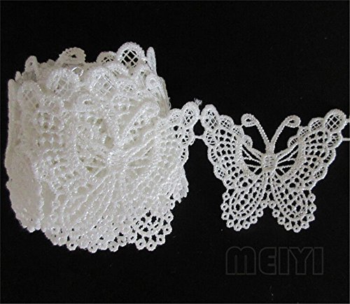 5 Meters Butterfly Lace Edge Trim Ribbon 5 cm Width Vintage Style White Edging Trimmings Fabric Embroidered Applique Sewing Craft Wedding Bridal Dress Embellishment DIY Decor Clothes Embroidery