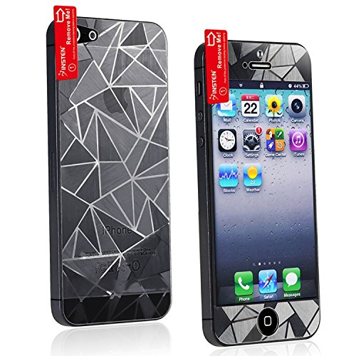 3D Triangle Diamond Screen Protector for Apple Iphone Iphone 5 Anti-Glare Anti-Fingerprint LCD Screen Protector (Front + Back)