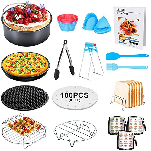 8 Inch XL Air Fryer Accessories, 17 Pcs Deep Fryer Accessories with Recipe Cookbook for Growise Phillips Cozyna Fits All 4.2QT - 5.8QT Air Fryer (Best Deep Fryer Recipes)