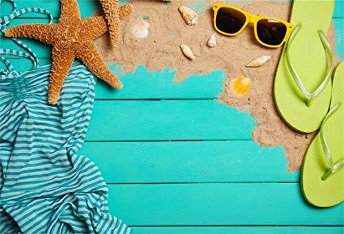 CSFOTO 10x7ft Background Starfish Slipper Skirt On Blue Board Sea Vacation Photography Backdrop Sunglasses Sand Deck Ocean Beach Summer Holiday Tour Journey Photo Studio Props Vinyl Wallpaper -