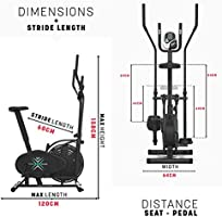 We R Sports Deluxe 2-IN-1 Cross Trainer /& Exercise Bike Fitness Cardio Workout With Seat