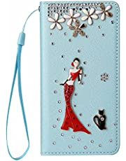 Miagon Bling Rhinestone Flip Case for iPhone SE 2020,3D Handmade Jewellery Crystal PU Leather Case Diamond Cover Stand Wallet Card Holder,Girl Cat Blue