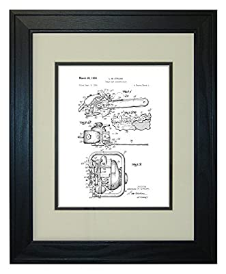 Chain Saw Patent Art Print in a Solid Pine Wood Frame with a Double Mat