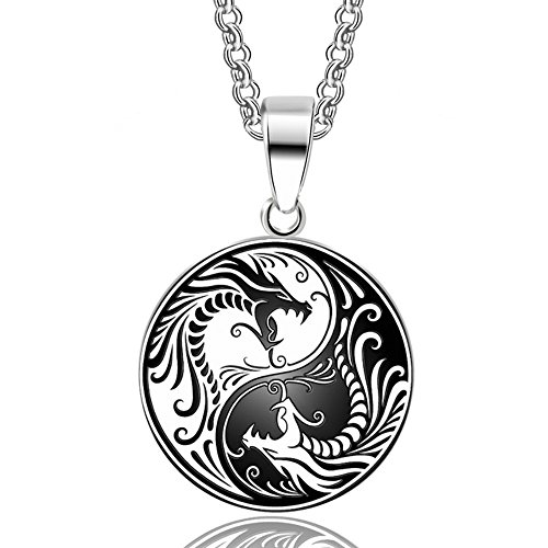 Warrior Dragon Pendant (HANDMADE JEWELLERY - Stainless Steel Yin Yang Dragon Pendant Necklace Norse Vikings Runes Amulet Necklaces Pendants Gifts Men Charm)