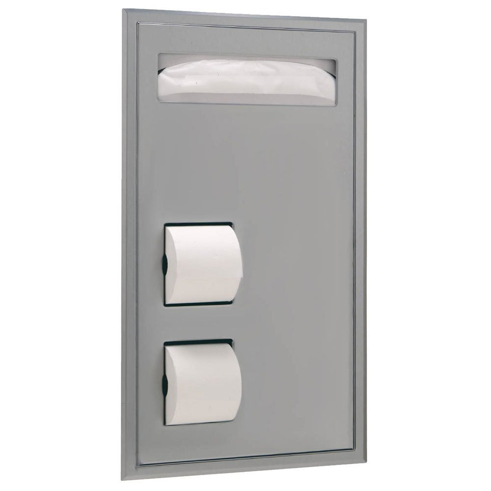 Bobrick 3471 ClassicSeries 304 Stainless Steel Partition Mounted SeatCover and Toilet Tissue Dispenser, Satin Finish, 15-1/2'' Width x 28-7/8'' Height