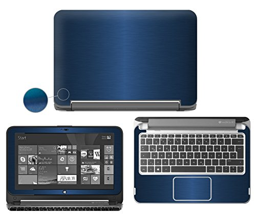 """Decalrus - Protective decal for HP Pavilion X360 11-n010dx2-in-1 (11.6"""" TouchScreen) laptop BLUE Texture Brushed Aluminum skin skins decal for case cover wrap BApavilionX360Blue"""