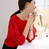 Neploe Summer Blouses O-Neck Shirt Women Half Puff Sleeve Chiffon Blouse Female Pleated Tops