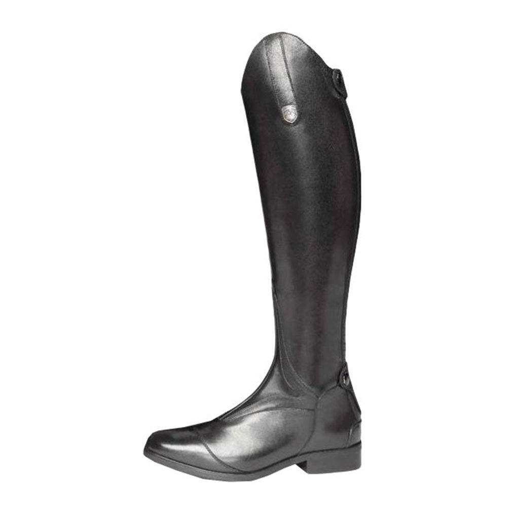 Mxssi Damen Ritterstiefel Retro Reitstiefel Rei/ßverschluss Hohe Stiefel Flache PU Lederstiefel mit Schnallendekoration