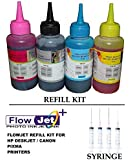 Flowjet Photo Quality Refill Ink Bottle Kit with 4 Syringe and Needles For Refilling HP 21 22 802 803 680 678 46 704 703 900 Inkjet Printer Cartridge