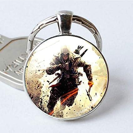 Moda Assassins Creed Llavero Cadenas Tiempo Gema Vidrio ...