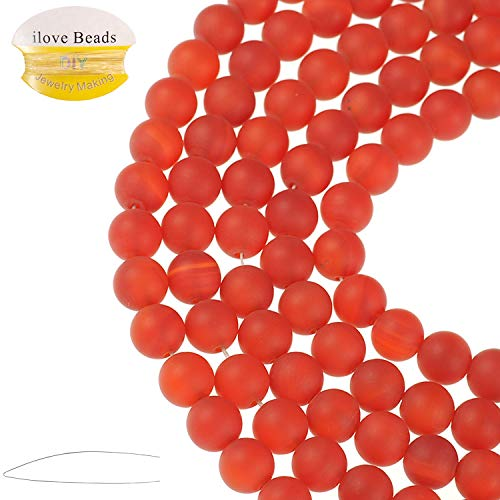 ILVBD Natural Round Red Agate Gemstone Smooth Matte Loose Beads 4/6/8/10/12MM for DIY Bracelet Jewelry Making 15 inch One Strand (Red Agate, 10MM)