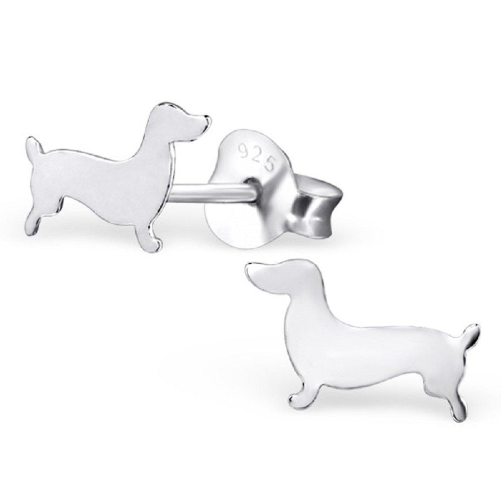 Laimons Kids Bijou pour enfant boucles d'oreilles pour enfant chien teckel plat brillant argent sterling 925 OS1157