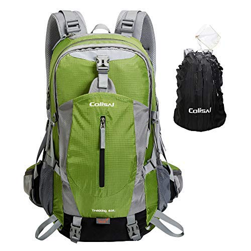 COLISAL 40L Hiking Backpack with Rain Cover Travel Outdoor Rucksack Waterproof for Men Women Lightweight Camping Backpack [並行輸入品] B07R4W94TG