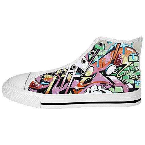 Chaussures De Toile De Coutume Graffiti Mens High Chaussures Lacets Sur Des Espadrilles De Chaussures De Toile.