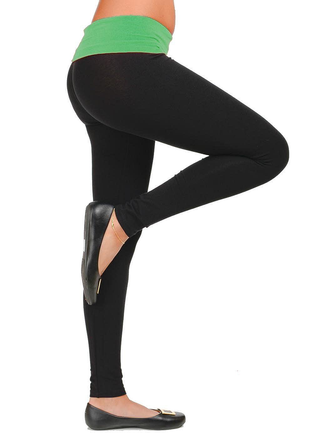 Hollywood Star Fashion Ladies Printed Tight Fit Yoga Pants Foldover Leggings