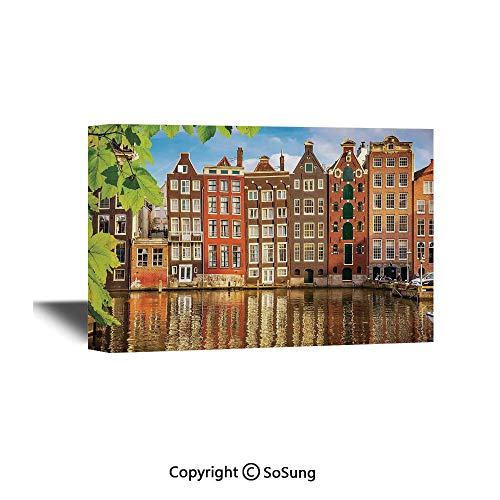 Cityscape Canvas Wall Art,Old Buildings in Amsterdam Nothern Fairy Cultural Nertherlands City with The River,Giclee Print Gallery Wrap Modern Home Decor Ready to Hang,18x12 inch