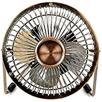 Antique Mini USB Table Desk Personal Fan (Metal Design, Quiet Operation; 4 Feet USB Cable, High Compatibility)