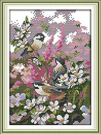 Punto de cruz, Kit de Punto de Cruz, Momenten Anself DIY Kit de punto de cruz/Flores y pájaros / 19 x 28cm