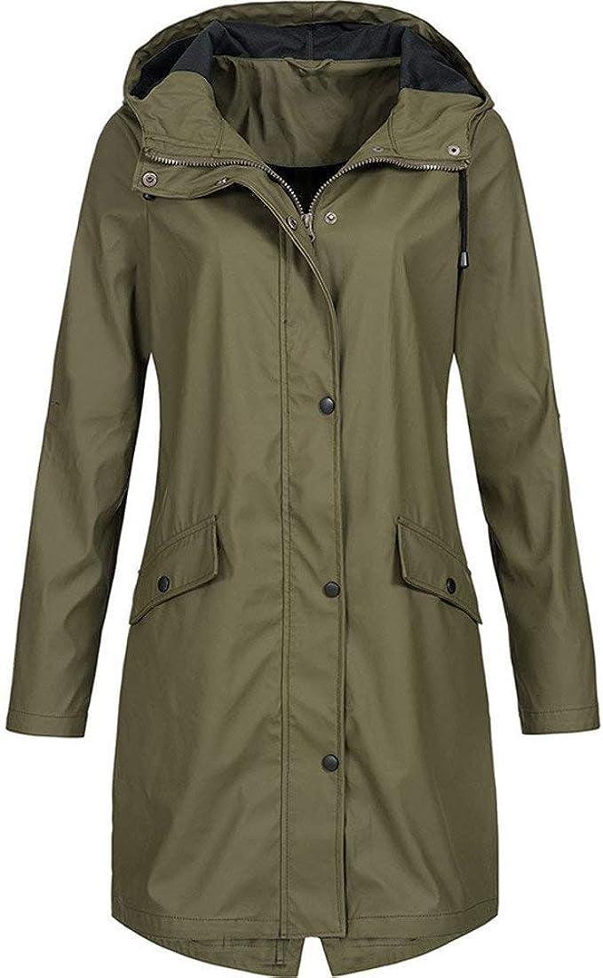 Regenmantel Damen Outdoor Plus Gr/ö/ße Wasserdicht Mit Kapuze Winddicht Mode Frauen Solide Regen Jacke