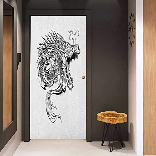Onefzc Sticker for Door Decoration Japanese Dragon Doodle Sketch Artwork Style Detailed Roaring Dragon with Scales and Tail Door Mural Free Sticker W31 x H79 Black White