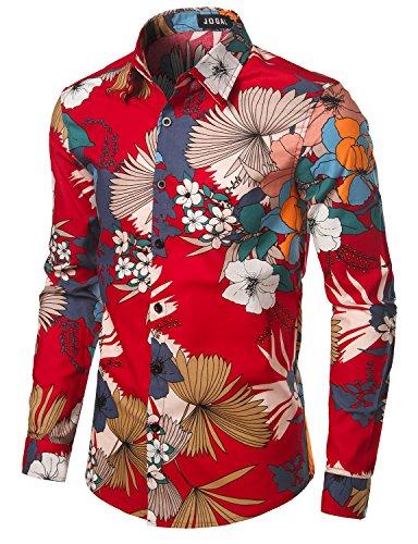 Shirts Flower Red (JOGAL Men's Flower Casual Button Down Long Sleeve Shirt A327 Red US XL(Label 3XL))