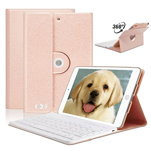 iPad Mini Keyboard Case for Apple iPad Mini 3,2,1 ONLY,COO Wireless Detachable Bluetooth Keyboard & 360 Degree Rotatable Magnetic Cover,Built-in Non-Slip Material-Adjust Any Angle(Champagne)