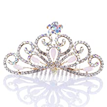 Remedios Colorful Rhinestoned Wedding Flower Girl Tiara Kids Crown Princess Headpiece Hair Comb, Blushing Pink
