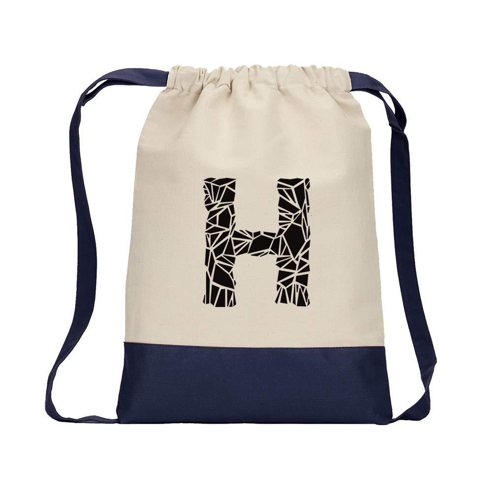 ''H'' Crystal Glass Monogram Letter H Cotton Canvas Color Drawstring Bag Backpack - Navy