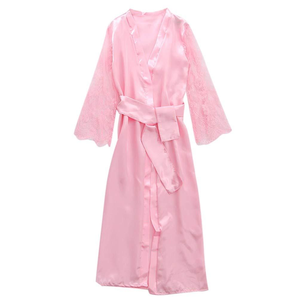 Pervobs Women Satin Pure Colour Long Sleeve Belt Long Nightdress Silk Lace Lingerie Nightgown Sleepwear Sexy Robe(L, Pink) by Pervobs Lingerie & Sleepwear (Image #4)