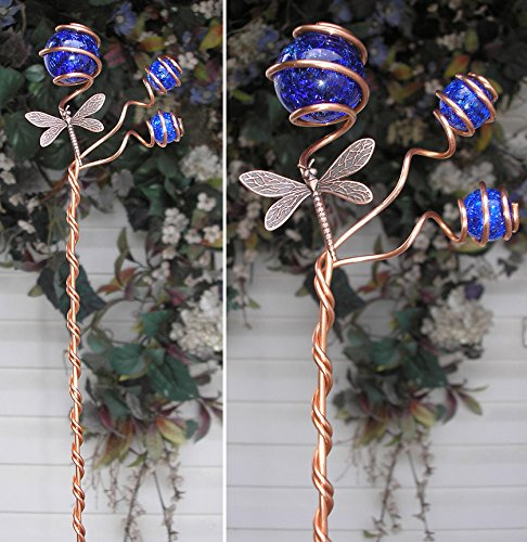 Dragonfly Garden Plant Stake - Metal Sculpture - Glass Copper Art - Yard Lawn Outdoor Pond Decor Cobalt