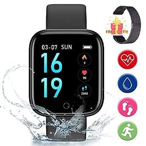 Smart Pulsera Fitness Tracker- Reloj Inteligente para Hombres Mujeres Bluetooth Rastreador de Actividad con Monitor de Ritmo Cardíaco Podómetro ...