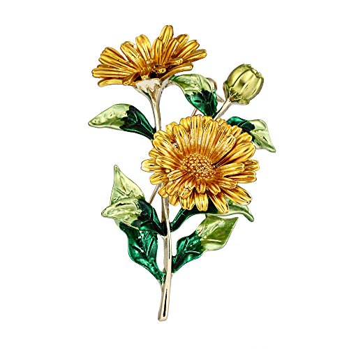 BriLove Women's Wedding Bridal Daisy Flower Corsage Enamel Brooch Pin Yellow Gold-Tone by BriLove