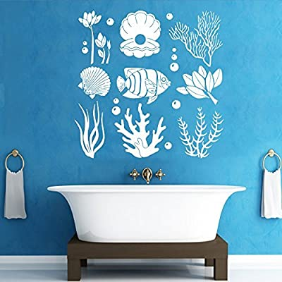 Marine Seaweed Wall Decals Ocean Sea Life Underwater Sticker Vinyl Shells Pearl Fish Decal Bedroom Nursery Home Decor Art Mural Bathroom SM165: Home & Kitchen