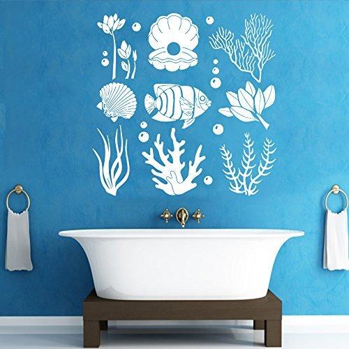 Marine Seaweed Wall Decals Ocean Sea Life Underwater Sticker Vinyl Shells Pearl Fish Decal Bedroom Nursery Home Decor Art Mural Bathroom Sm165 Kitchen Dining