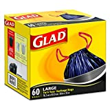Glad Black Garbage Bags, Drawstring, Large, 60 Bags